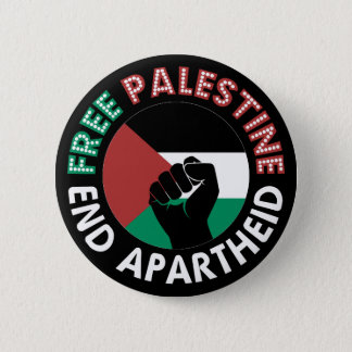 Free Palestine End Apartheid Flag Fist Black 2 Inch Round Button