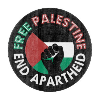 Free Palestine End Apartheid Flag Fist Black Cutting Boards