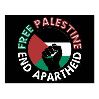 Free Palestine End Apartheid Flag Fist Black Postcard