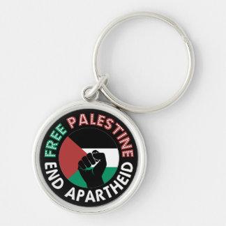 Free Palestine End Apartheid Flag Fist Black Silver-Colored Round Keychain