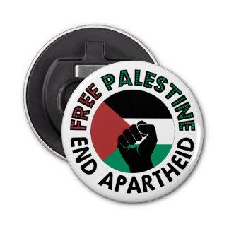 Free Palestine End Apartheid Palestine Flag Button Bottle Opener