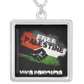 Free Palestine Grunge Flag Silver Plated Necklace