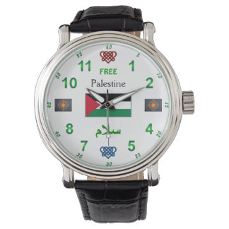 Free Palestine - Watch: Black Vintage Leather Watch