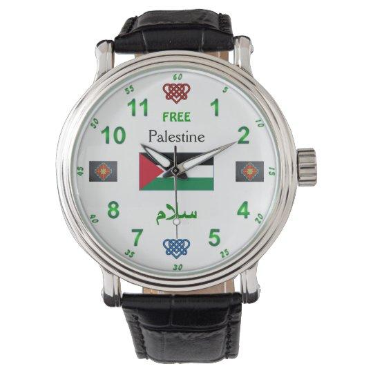 Free Palestine - Watch: Black Vintage Leather Wrist Watch