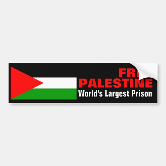 FREE PALESTINE WORLD'S LARGEST PRISON bumperstikr Bumper Sticker