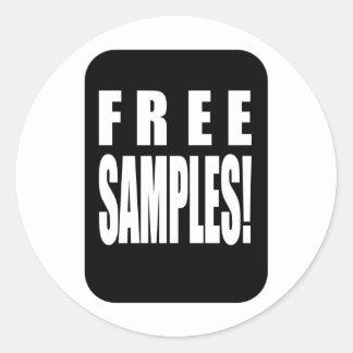 free samples round sticker