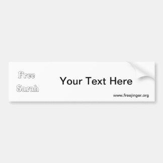 Free Sarah Car Bumper Sticker