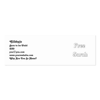 Free Sarah Pack Of Skinny Business Cards