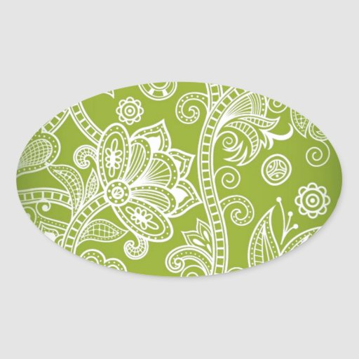 Free-Seamless-Floral-Vector-Background GREEN WHITE Oval Sticker