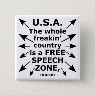 Free Speech Coast to Coast 2 Inch Square Button