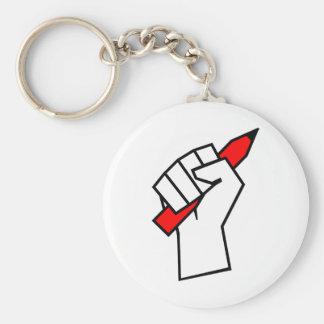 Free Speech Pencil in Fist Basic Round Button Keychain