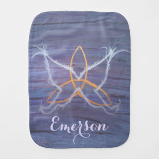 Free-Spirit Baby | Name Purple Butterfly Trinity | Burp Cloth
