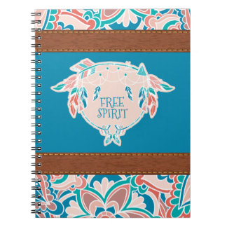 Free Spirit, Boho Faux Leather Spiral Notebook