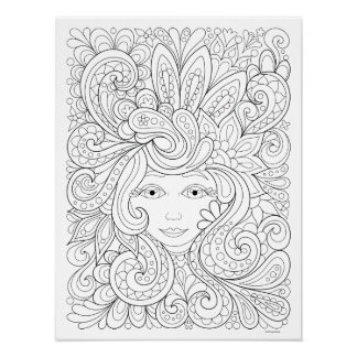 Free Spirit Coloring Poster - Colorable Poster Art