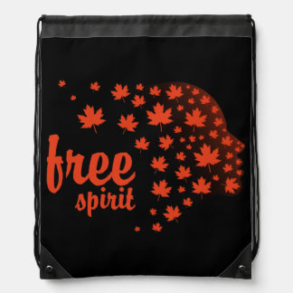 Free Spirit Face, Autumn Drawstring Bag