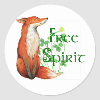 free spirit fox classic round sticker