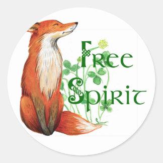 free spirit fox round sticker