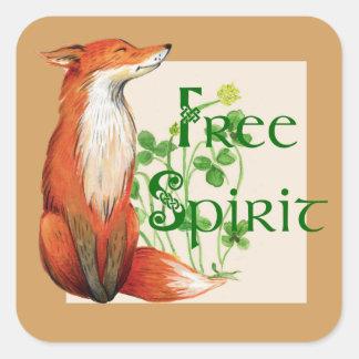 free spirit fox square sticker