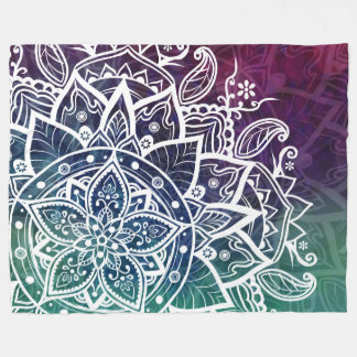 Free Spirit Mandala Purple Blue Green Fleece Blanket