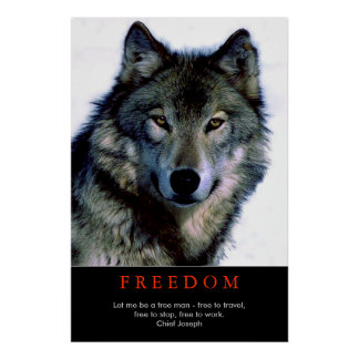 Free Spirit Motivational Wolf Eyes Poster Print