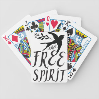 free spirit with pretty swallow bird bicycle playing cards