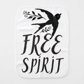 free spirit with pretty swallow bird burp cloth