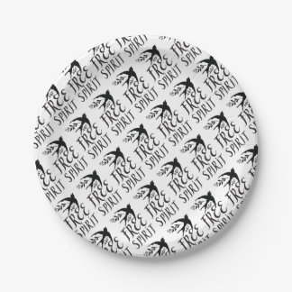 free spirit with pretty swallow bird paper plate