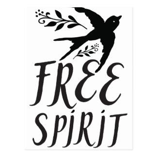 free spirit with pretty swallow bird postcard
