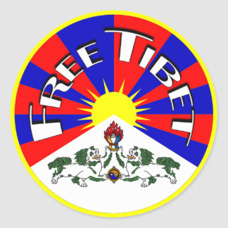 Free Tibet Badge Classic Round Sticker