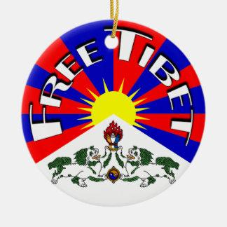 Free Tibet Badge Round Ceramic Ornament
