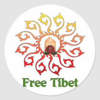 Free Tibet Candle Round Sticker