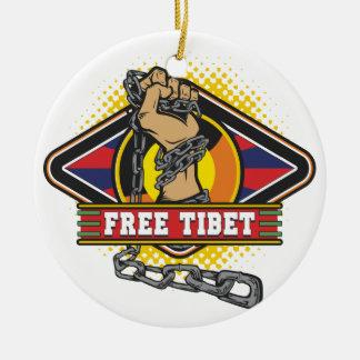Free Tibet Chains Round Ceramic Ornament