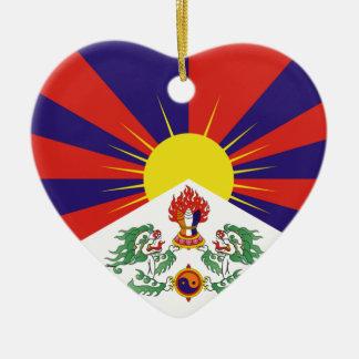 Free Tibet Flag - Peu Rangzen བོད་རང་བཙན་ Ceramic Heart Ornament
