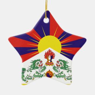 Free Tibet Flag - Peu Rangzen བོད་རང་བཙན་ Ceramic Star Ornament