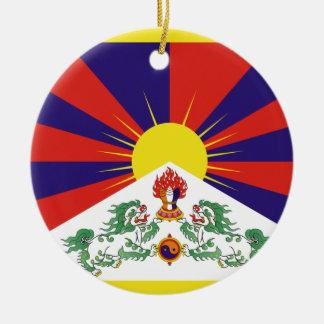 Free Tibet Flag - Peu Rangzen བོད་རང་བཙན་ Round Ceramic Ornament