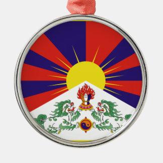 Free Tibet Flag - Peu Rangzen བོད་རང་བཙན་ Silver-Colored Round Ornament