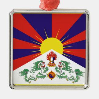 Free Tibet Flag - Peu Rangzen བོད་རང་བཙན་ Silver-Colored Square Ornament