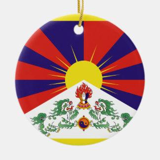 Free Tibet Flag Round Ceramic Ornament