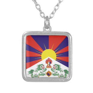 Free Tibet Flag Silver Plated Necklace