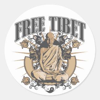 Free Tibet Monk Round Sticker