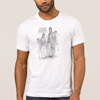 Free Tibet Monks Illustration T-Shirt