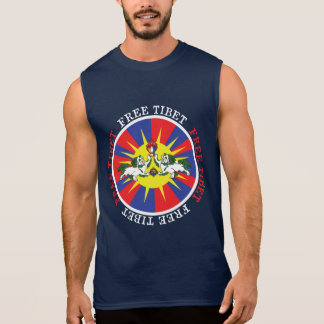 Free Tibet Snow Lions and Independence Slogan Sleeveless Shirt