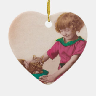 free vintage printable - girl and cat photo tinted ceramic ornament