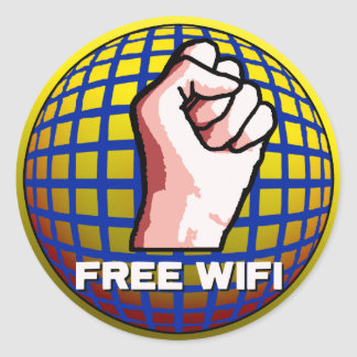 Free WiFi Classic Round Sticker