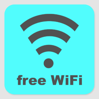 FREE WIFI Vector COMPUTER INTERNET ADVERTISING Square Sticker