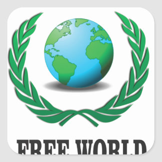 free world baby square sticker