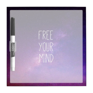 """Free Your Mind"" Quote Blue Night Sky Dry Erase Whiteboard"