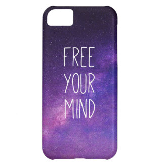 """""""Free Your Mind"""" Quote Blue Night Sky iPhone 5C Cases"""