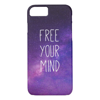 """Free Your Mind"" Quote Blue Night Sky iPhone 8/7 Case"