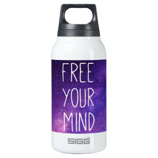 """""""Free Your Mind"""" Quote Blue Purple Sky Space Stars Insulated Water Bottle"""
